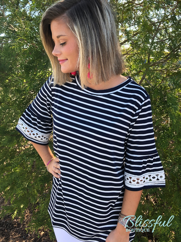 Navy & Ivory Striped Lace Bell Sleeve Top