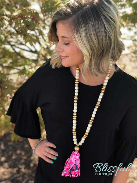 Black 3/4 Ruffle Sleeve Tunic