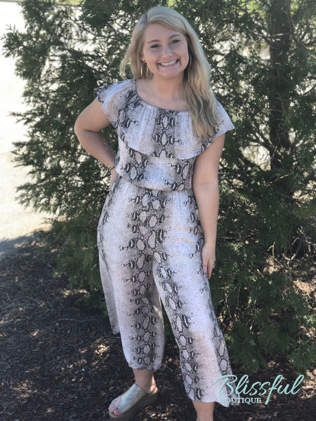 Snake Print Off-the-Shoulder Jumpsuit