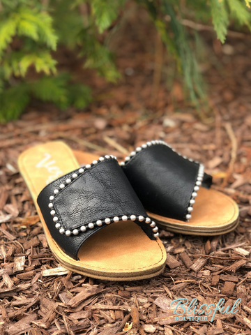Black Studded Slide Sandal