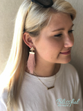 Long Tassel Earrings w/ Triangle Stud