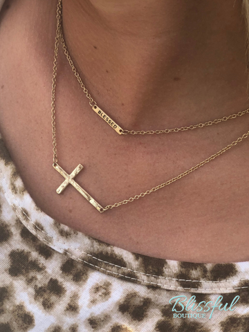 Layered Blessed & Cross Pendant Necklace