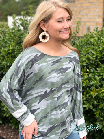 Camo French Terry Top w/ Varsity Cuffs