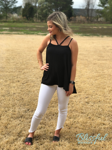 Black Flared Sleeveless Top w/ Strap Detail