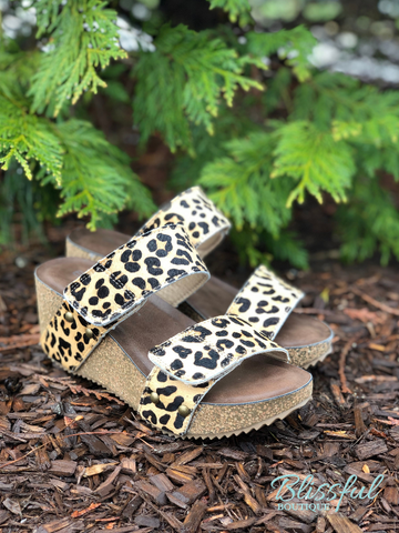 Leopard Platform Slip-on Wedge