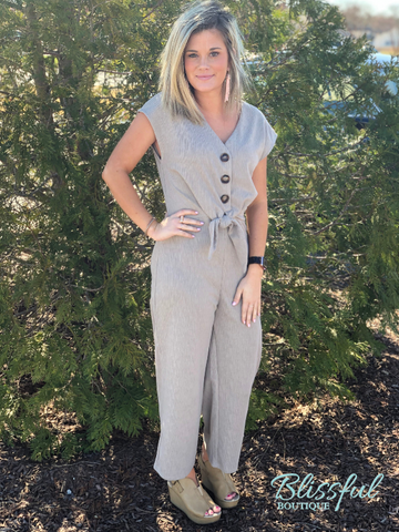 Taupe Knot & Button Cap Sleeve Jumpsuit