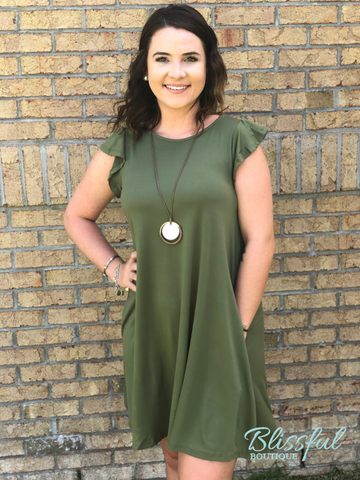 Olive Ruffle Sleeve Dress w/ Pockets