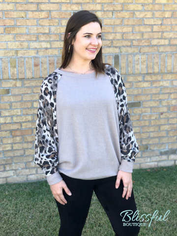 Latte Leopard Sleeve Top