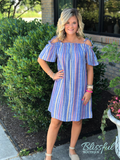 Denim Striped Off-the-Shoulder Dress