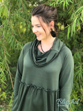 Hunter Green Cowl Neck Babydoll Dress