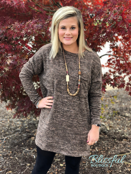 Mocha Tunic w/ Side Button Accent