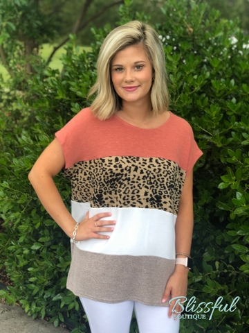 Leopard Color Block Drop Shoulder Top