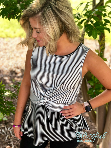 Black & White Twist Front Stripe Sleeveless Top