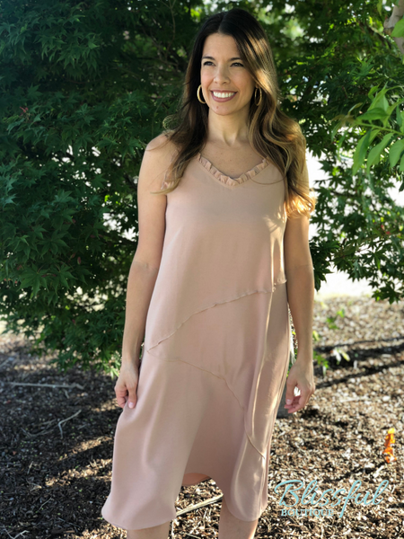 Peach Ruffle Detail Midi Dress