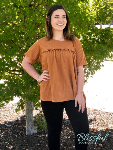 Camel Ribbed Short Sleeve Top