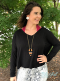 Black V-Neck Dolman Sleeve Top