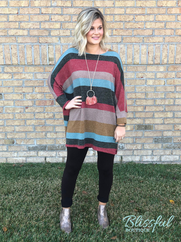 Multi-Stripe Oversized 3/4 Sleeve Tunic