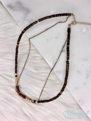 Stone & Bamboo Choker Necklace