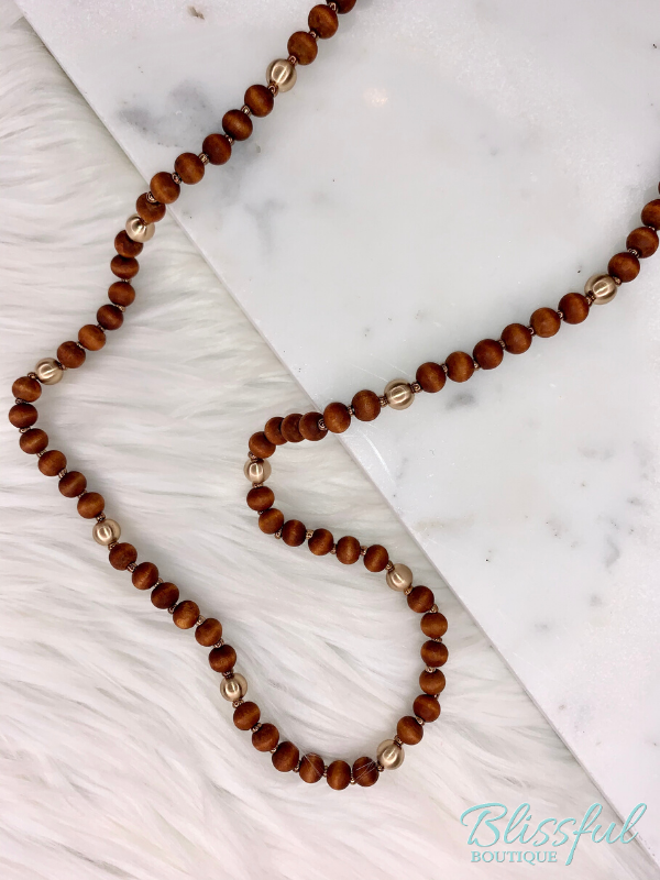 Wood and Gold Beaded Necklace