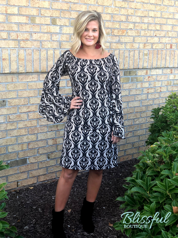 Black & Taupe Printed Tunic/Dress