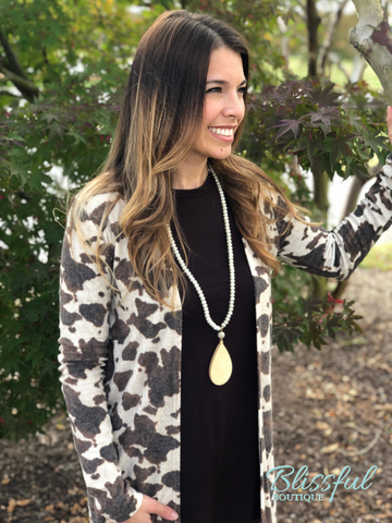 Cow Print Long Duster Cardigan