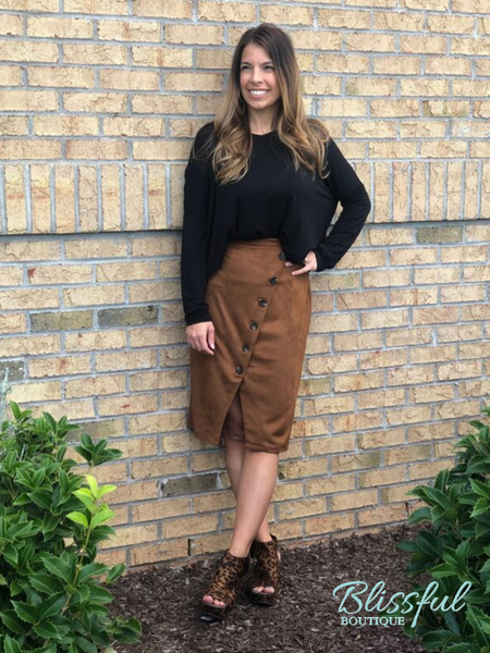 Camel Suedette Pencil Skirt w/ Button Accent