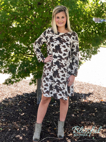 Taupe Cow Print Tee Dress
