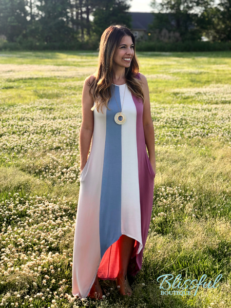 Color Block Maxi Dress w/ Hi-Lo Hem