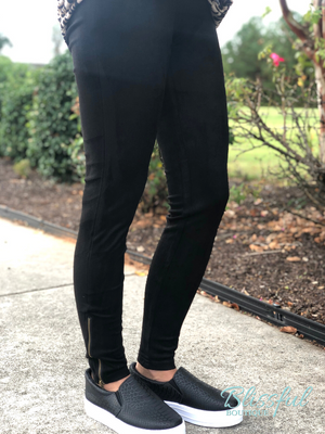 Black Suede Style Leggings w/ Side Zip