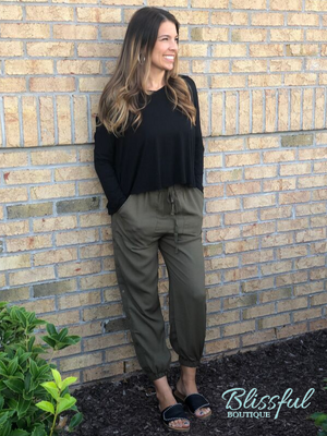 Olive Side Button Jogger Pants