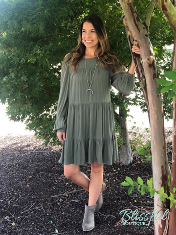 Olive Tiered Long Sleeve Dress