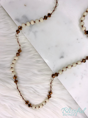 Ivory & Bronze Glass Bead Knotted Necklace
