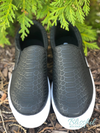 Black Croc Textured Sneaker