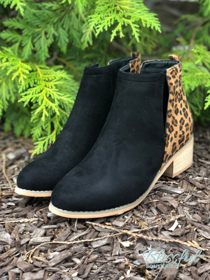 Black & Leopard Mixed Bootie