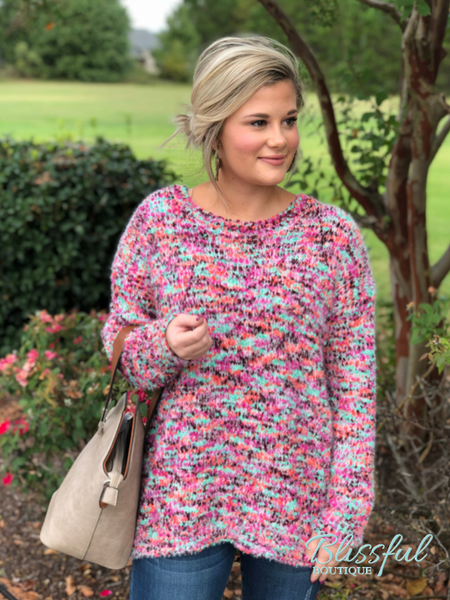Mint/Pink Boucle Long Sleeve Sweater