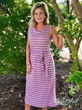 Lavender Striped Midi Dress w/ Sash Belt
