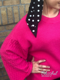 Hot Pink Textured Wide Sleeve Knit Sweater