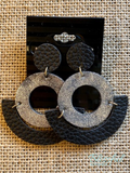Circle Glitter Leather Earrings