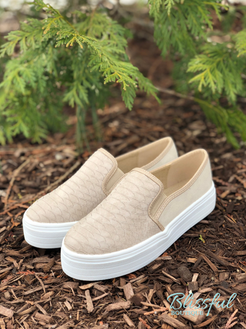 Taupe Textured Platform Fashion Sneaker