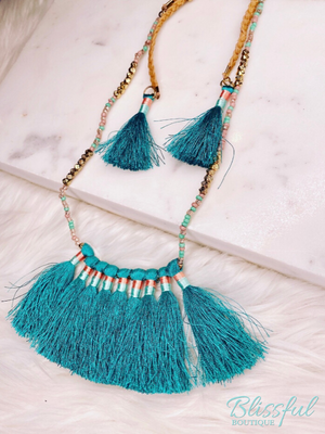 Thread Tassel & Suede Braid Necklace