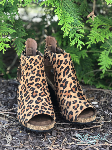 Leopard Suede Peep Toe Wedge