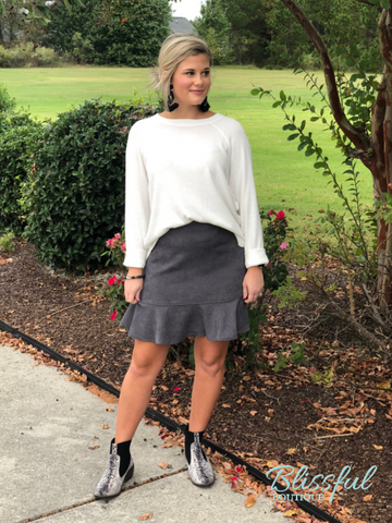 Grey Side Button Corduroy Flounce Hem Skirt
