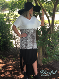 Color Block Cheetah Print Knit Maxi Dress