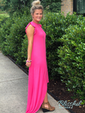 Hot Pink High-Low Maxi Dress w/ Ruffle Accent
