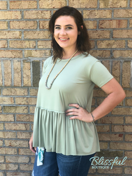 Light Sage Peplum Top