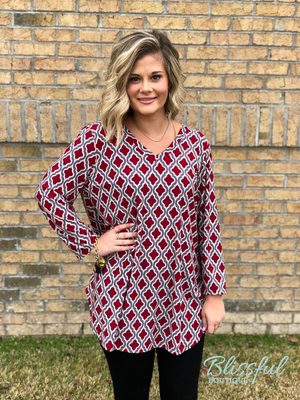 Crimson Printed 3/4 Sleeve Top