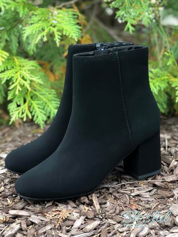 Black Heel Tall Ankle Bootie