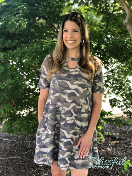Brown Camo Print Dress w/ Side Pockets