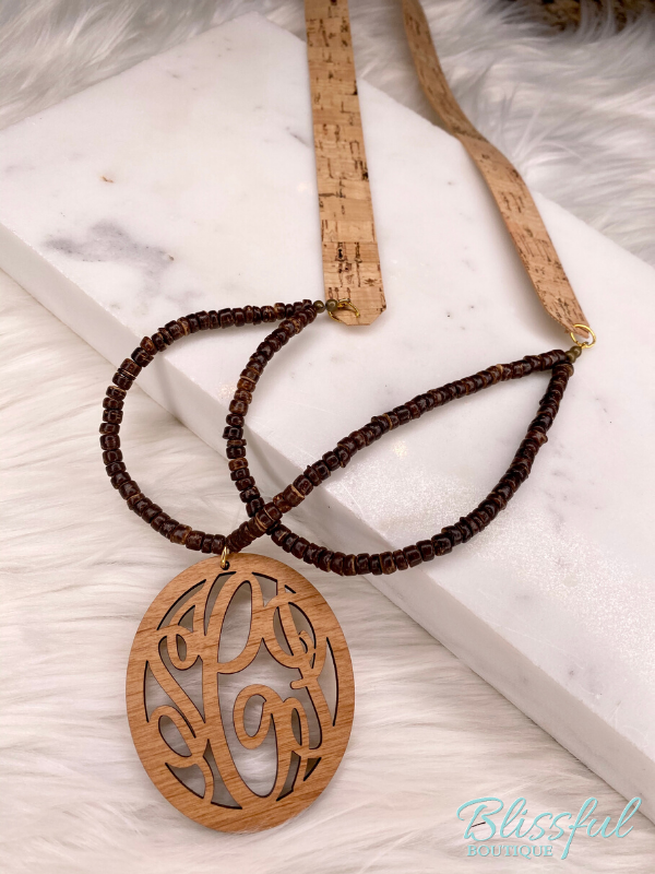 Willow Cork & Wood Monogram Necklace