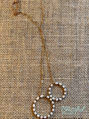 Long Double Drop Pearl Pendant Necklace